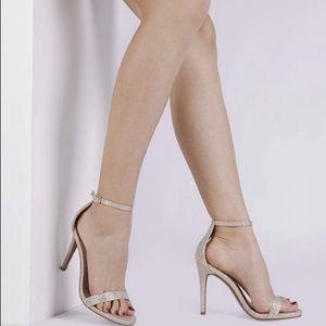 Gold Glitter Stiletto sandals ~ kitten heels ~